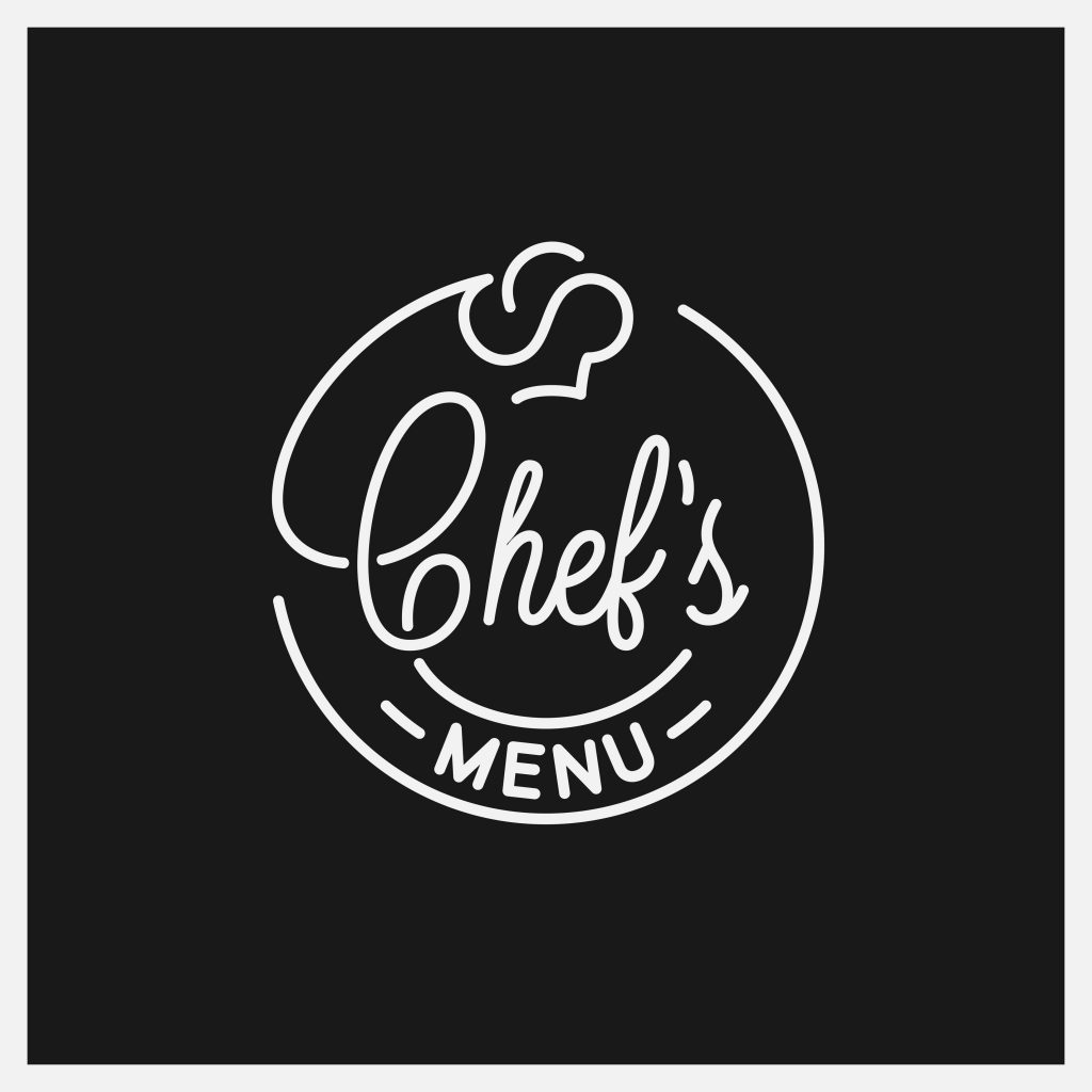 Chefs menu logo. Round linear logo of chef hat on black background 8 eps